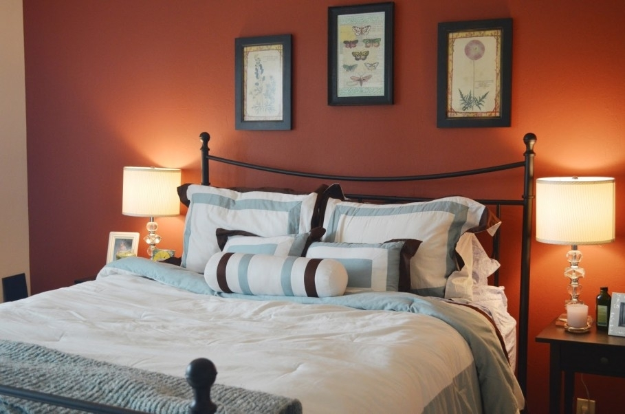 Warm Bedroom Themed With Orange Accents Wall Decoration Plus Intended For Wall Accents Colors For Bedrooms (Image 15 of 15)