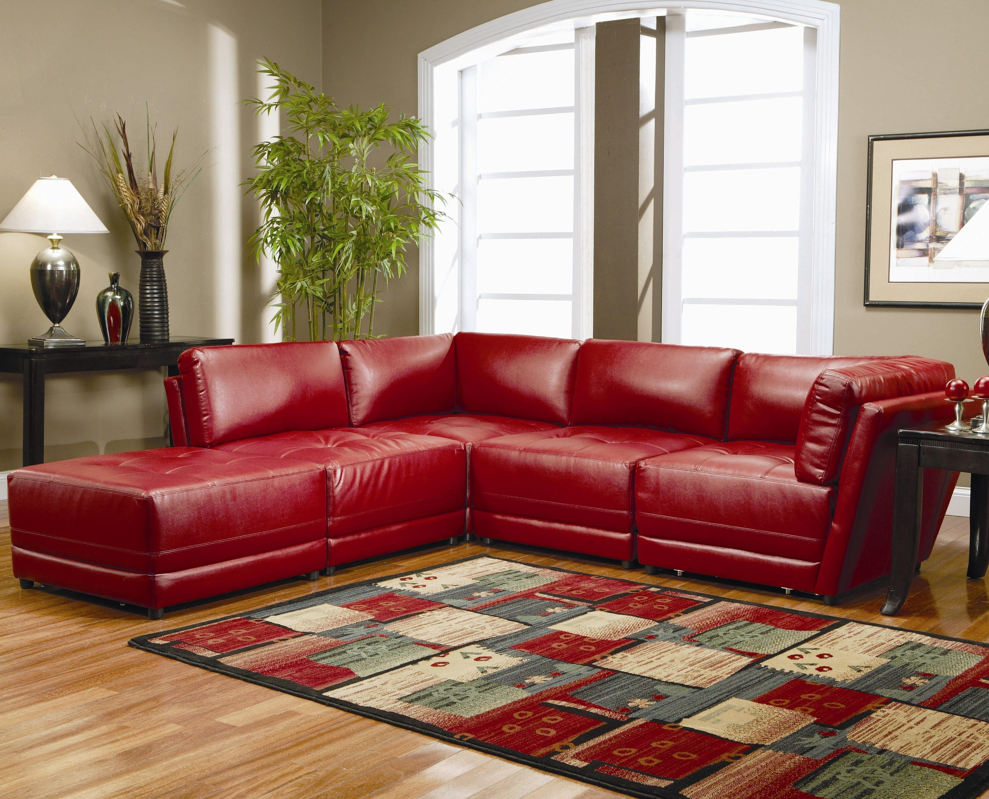 Warm Red Leather Sectional L Shaped Sofa Design Ideas For Living In Red Faux Leather Sectionals (Image 10 of 10)
