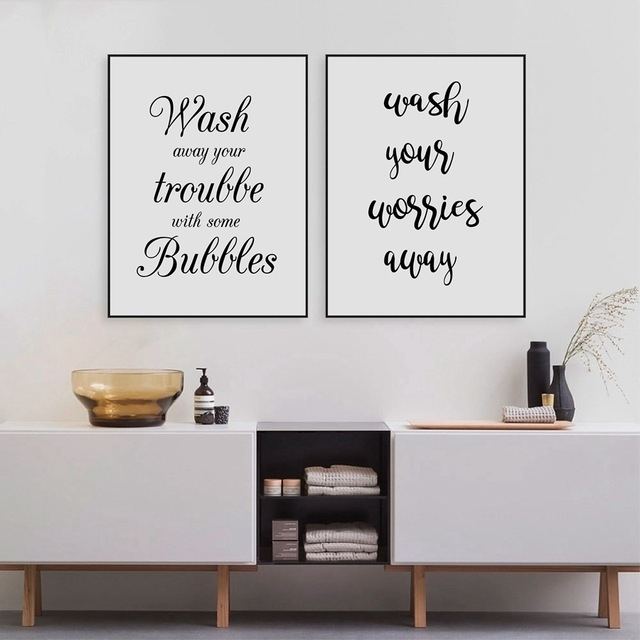 Wash Your Worries Away Quote Wall Art Canvas Print And Poster Intended For Bathroom Canvas Wall Art (View 7 of 15)