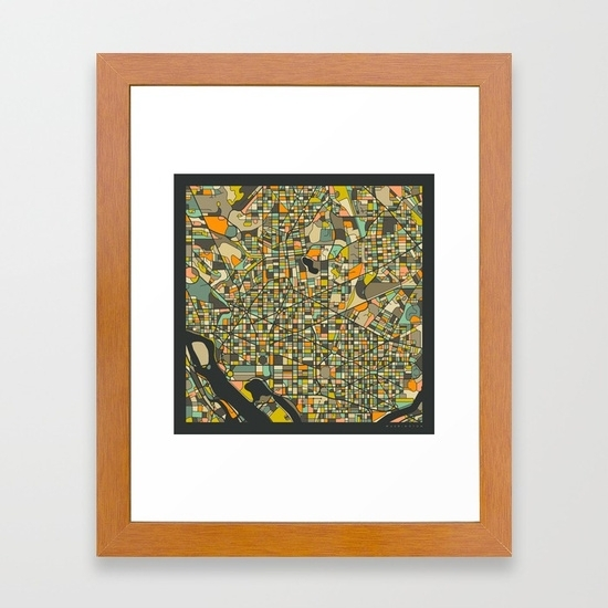 Washington Dc Map Framed Art Printjazzberryblue | Society6 Within Washington Dc Framed Art Prints (View 8 of 15)