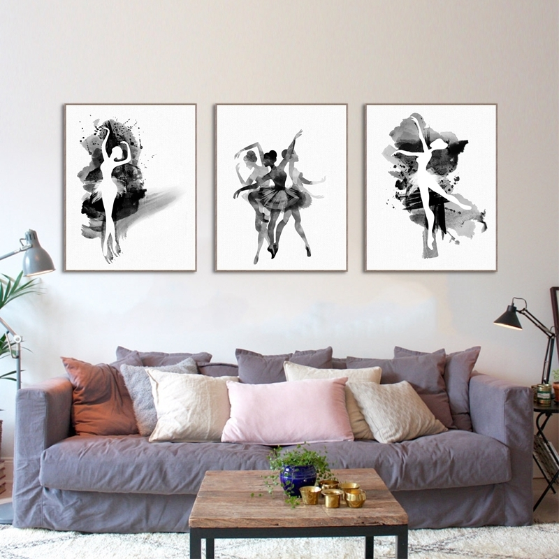 Watercolor Ballerina In Dance Canvas Wall Art Print Poster, Black Pertaining To Dance Canvas Wall Art (View 3 of 15)