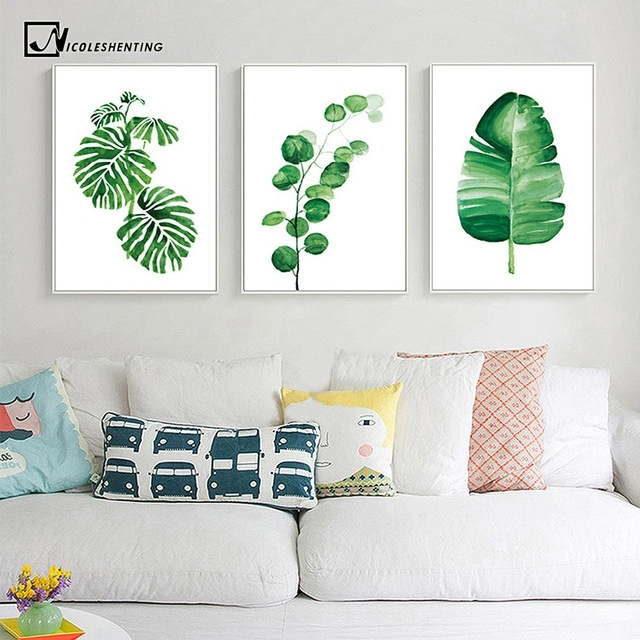 Watercolor Tropical Plants Leaves Wall Art Canvas Posters And Pertaining To Leaves Canvas Wall Art (Image 15 of 15)