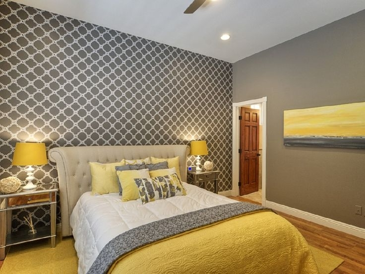 We Love This Yellow & Gray Palette In This #bedroom! | Yellow Throughout Wall Accents For Yellow Room (View 15 of 15)