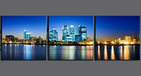 Wharf London Triptych City Canvas 60 X 20 Inch Wall Art Print For Canvas Wall Art Of London (View 11 of 15)