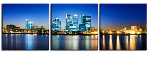 Wharf London Triptych City Canvas 60 X 20 Inch Wall Art Print within Canvas Wall Art of London
