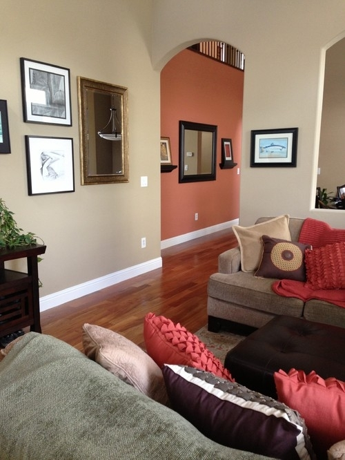 What Is The Orange/red Wall Color? Would It Work W Shaker Beige? Inside Wall Accents With Beige (View 1 of 15)
