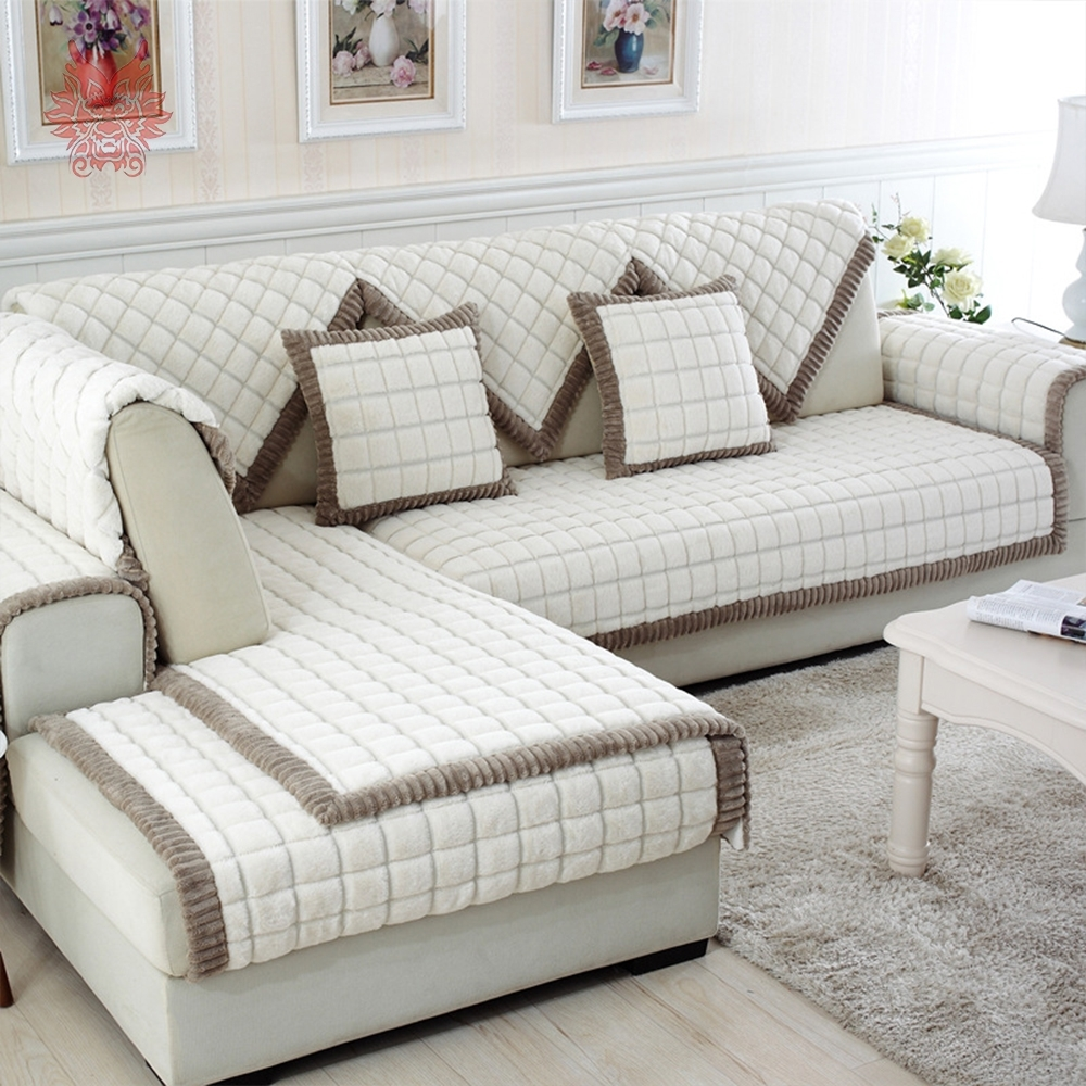 White Grey Plaid Plush Long Fur Sofa Cover Slipcovers Fundas De Sofa Intended For Sectional Sofas With Covers (View 3 of 10)