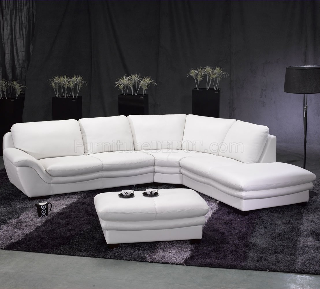 White Leather Contemporary Sectional Sofa W/ottoman Intended For White Sectional Sofas (Image 5 of 10)