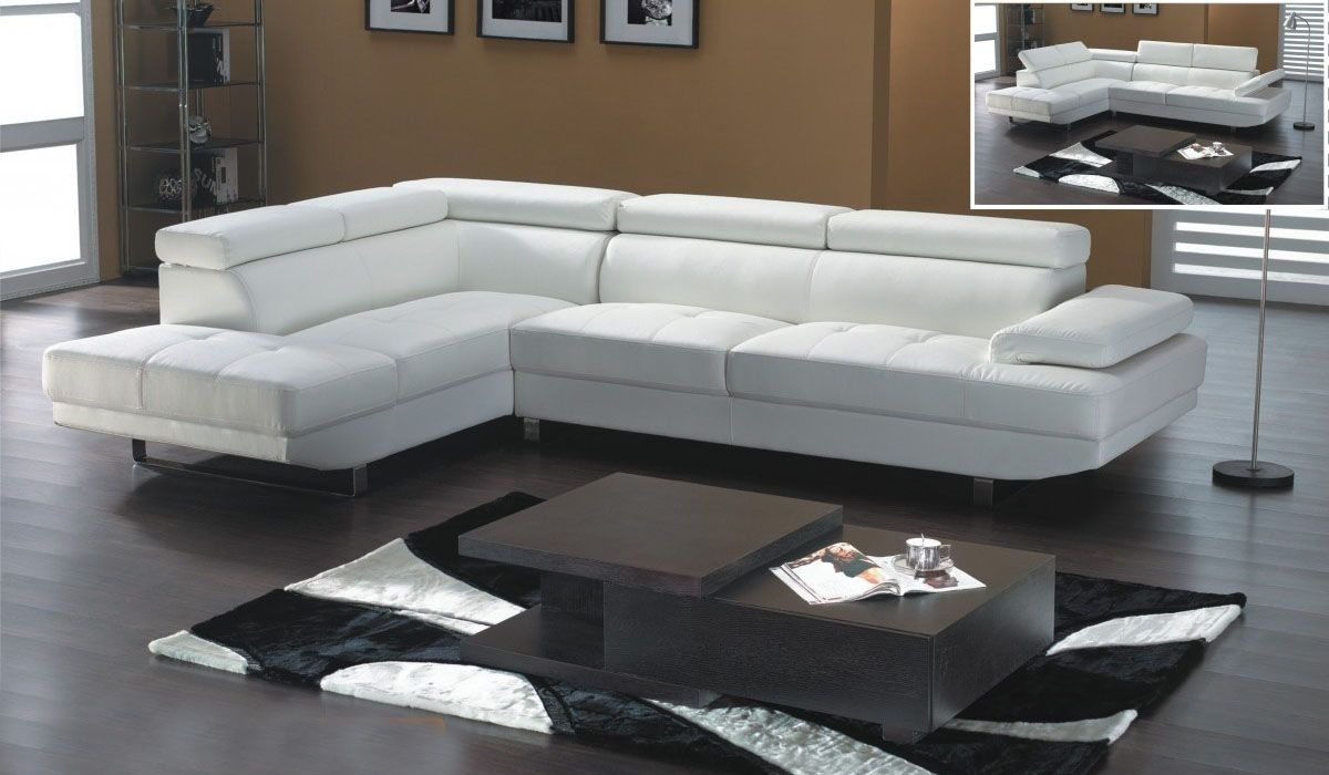 White Leather Modern Sectional Sofa With Adjastable Headrests Throughout White Sectional Sofas (Image 6 of 10)