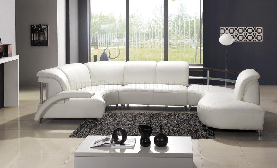 White Leather Modern U Shaped Sectional Sofa W/shelves With Regard To Modern U Shaped Sectional Sofas (View 6 of 10)