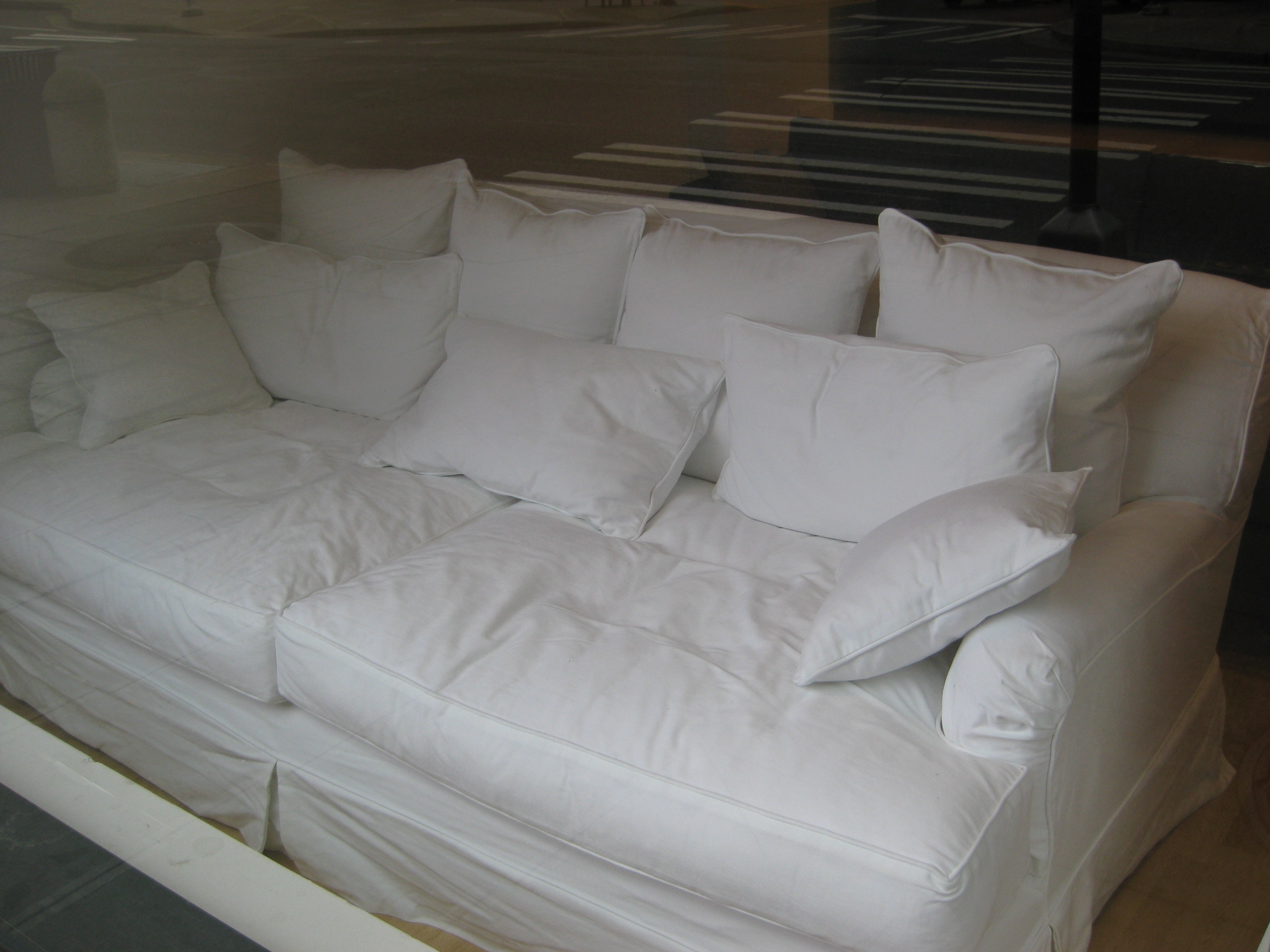 White Microfiber Deep Sleeper Couch Using Many Small Cushion Also In Deep Cushion Sofas (Image 10 of 10)