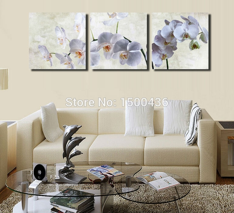 White Orchid Flower Print Painting Oil On Canvas Wall Art 3 Piece Pertaining To Orchid Canvas Wall Art (Image 15 of 15)