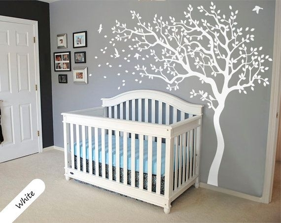White Tree Wall Decal Huge Tree Wall Decal Wallcolorsplash4 U Throughout Nursery Wall Accents (View 11 of 15)