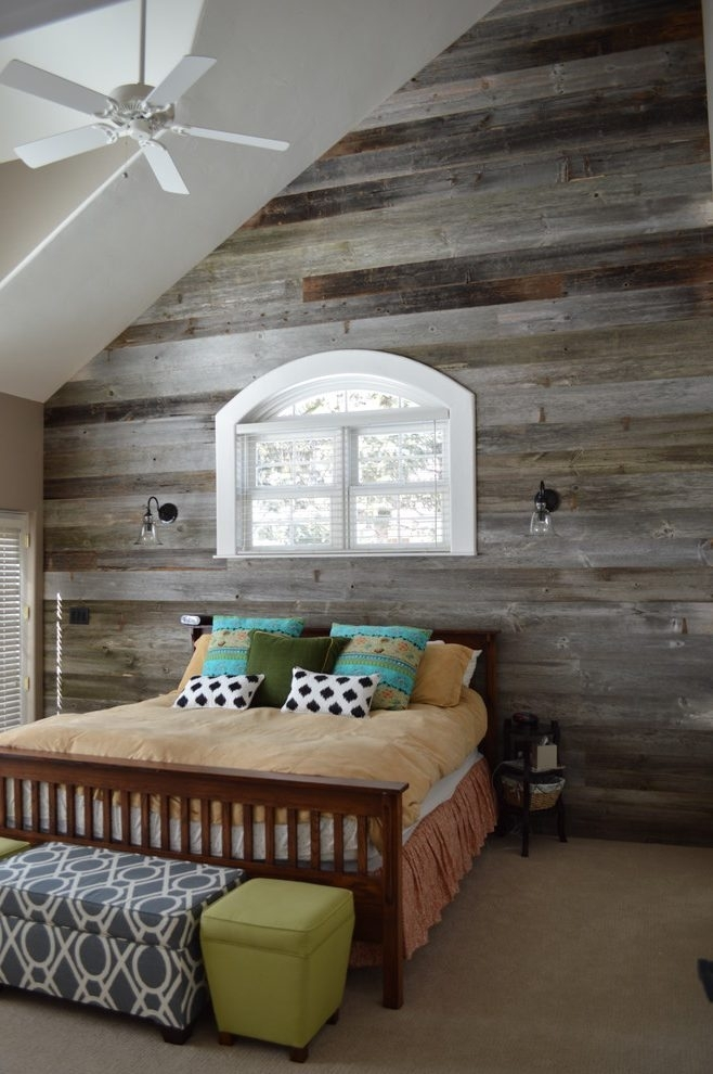 White Wood Wall Art Bedroom Rustic With Wood Accent Wall Reclaimed With Wall Accents Cabinets (Image 15 of 15)