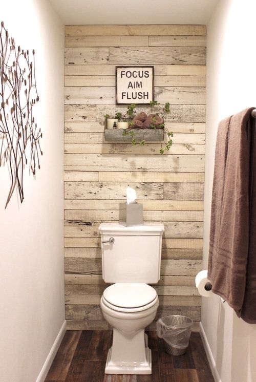 Whitewash Reclaimed Wood – White Shiplap Paneling – Shiplap Accent With Regard To Wall Accents Behind Toilet (View 5 of 15)