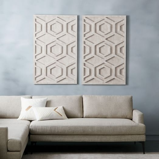Whitewashed Wood Wall Art – Hexagon | West Elm For Rectangular Wall Accents (View 10 of 15)