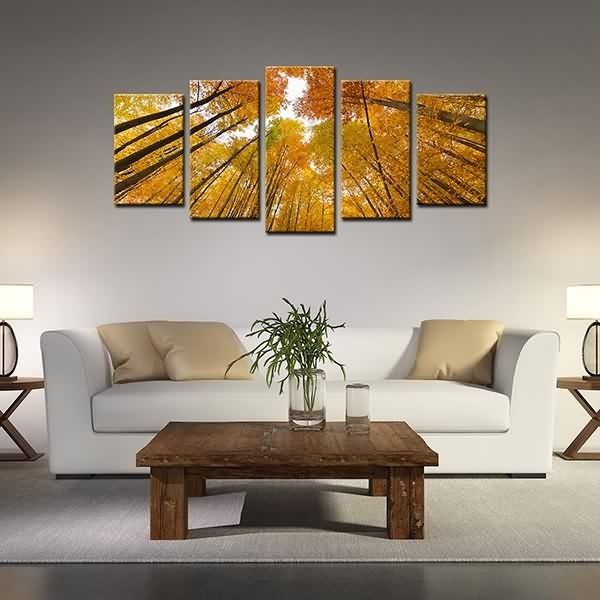 Wholesale Dealers Of Framed Canvas Prints High Trunk Yellow Woods Intended For Leadgate Canvas Wall Art (Image 14 of 15)