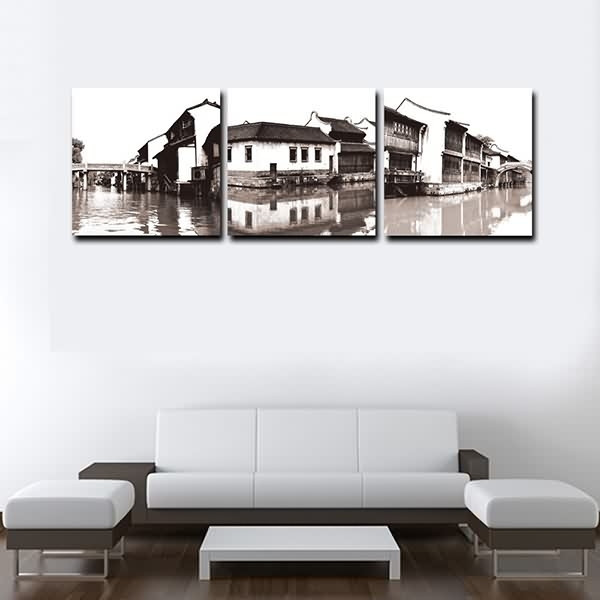Wholesale Price China Framed Contemporary Scenery Of Jiangnan In Canvas Wall Art Of Philippines (Image 15 of 15)