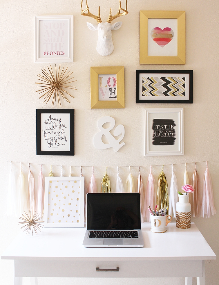 Why I Chose A Bright Color Scheme For Our Home | Gallery Wall Regarding Gold Wall Accents (View 9 of 15)