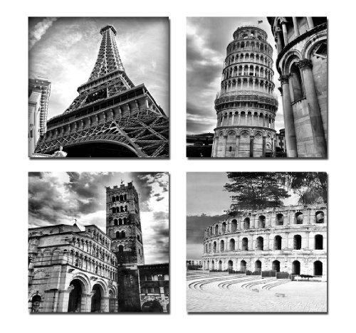 Wieco Art – Architectures Modern 4 Panels Giclee Canvas Prints With Regard To Black And White Canvas Wall Art (Image 15 of 15)