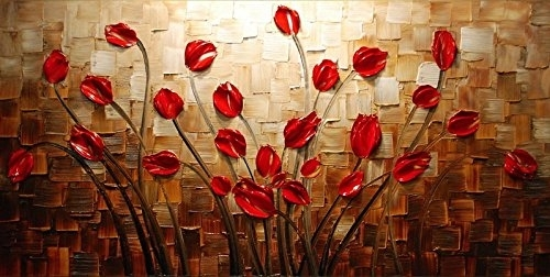 Wieco Art – Budding Flowers 100% Hand Painted Modern Canvas Wall Within Canvas Wall Art Of Flowers (View 8 of 15)