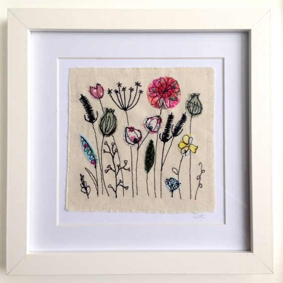 Wildflower Meadow Framed Wall Art Picture Gift, Stitched Fabric With Regard To Fabric Applique Wall Art (Image 15 of 15)