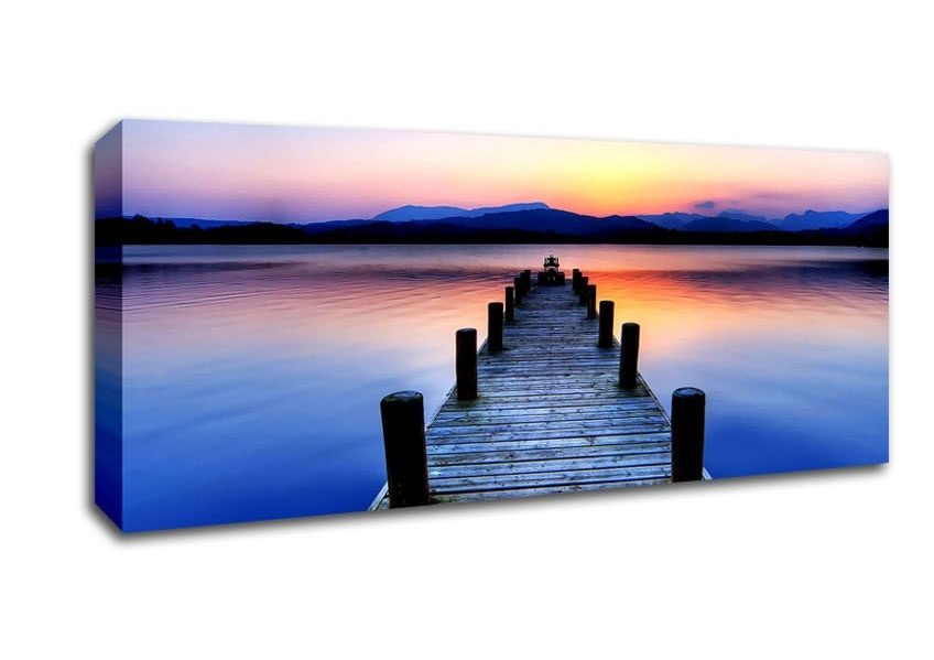 Windermere Lake District Cumbria England Sunset Panoramic Panel Throughout Lake District Canvas Wall Art (Image 15 of 15)