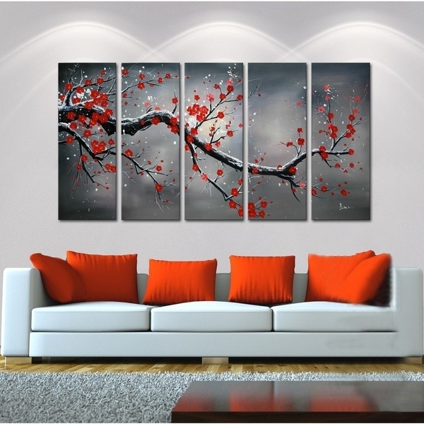 Winter Plum' 5 Piece Oil Hand Painted Canvas Art Set – 13101983 Regarding Hand Painted Canvas Wall Art (Image 15 of 15)