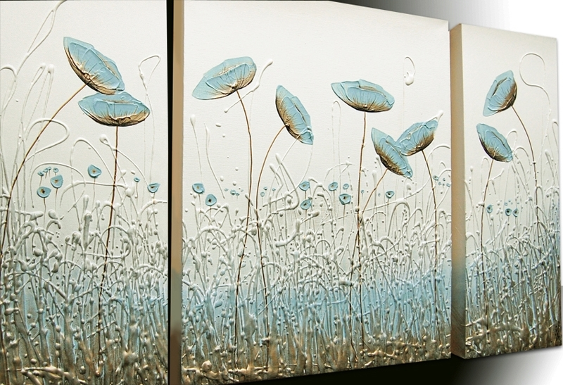 Wisper Triptych – The Sculpture Room Pertaining To Duck Egg Blue Canvas Wall Art (View 6 of 15)