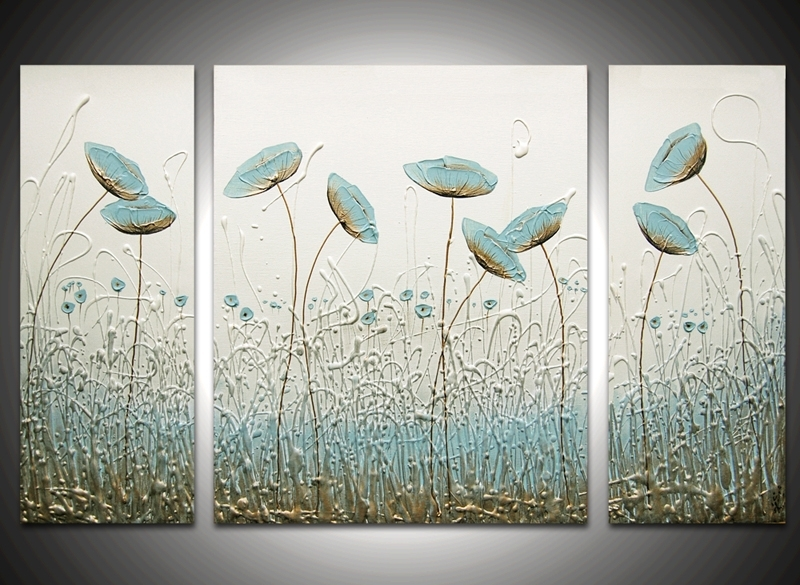 Wisper Triptych – The Sculpture Room With Duck Egg Blue Canvas Wall Art (Image 15 of 15)