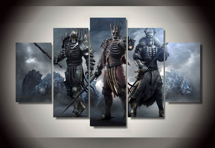 Witcher Wild Hunt Gaming 5Pc Wall Decor Framed Oil Painting With Regard To Gaming Canvas Wall Art (View 4 of 15)