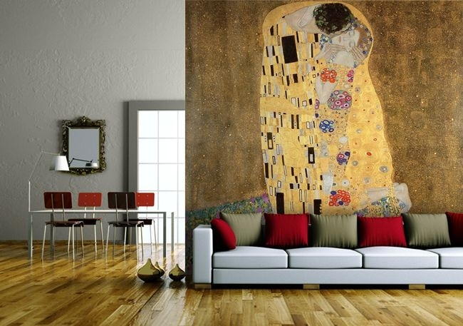 Wohndesign – Sofa Vor Streifenwand | Depa | Pinterest | Klimt Intended For Murals Wall Accents (Image 15 of 15)