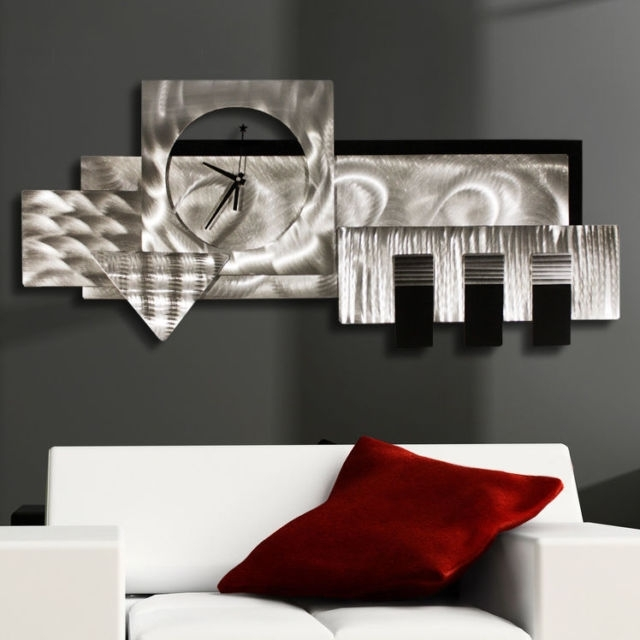 Wonderful Large Silverblack 3D Wall Clock Modern Abstract Metal In Abstract Metal Wall Art With Clock (View 6 of 15)