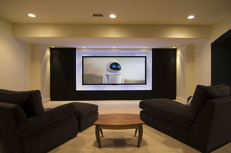 Wonderful White And Black Basement Decor Idea With White Wall With Intended For Wall Accents For Media Room (Image 14 of 15)