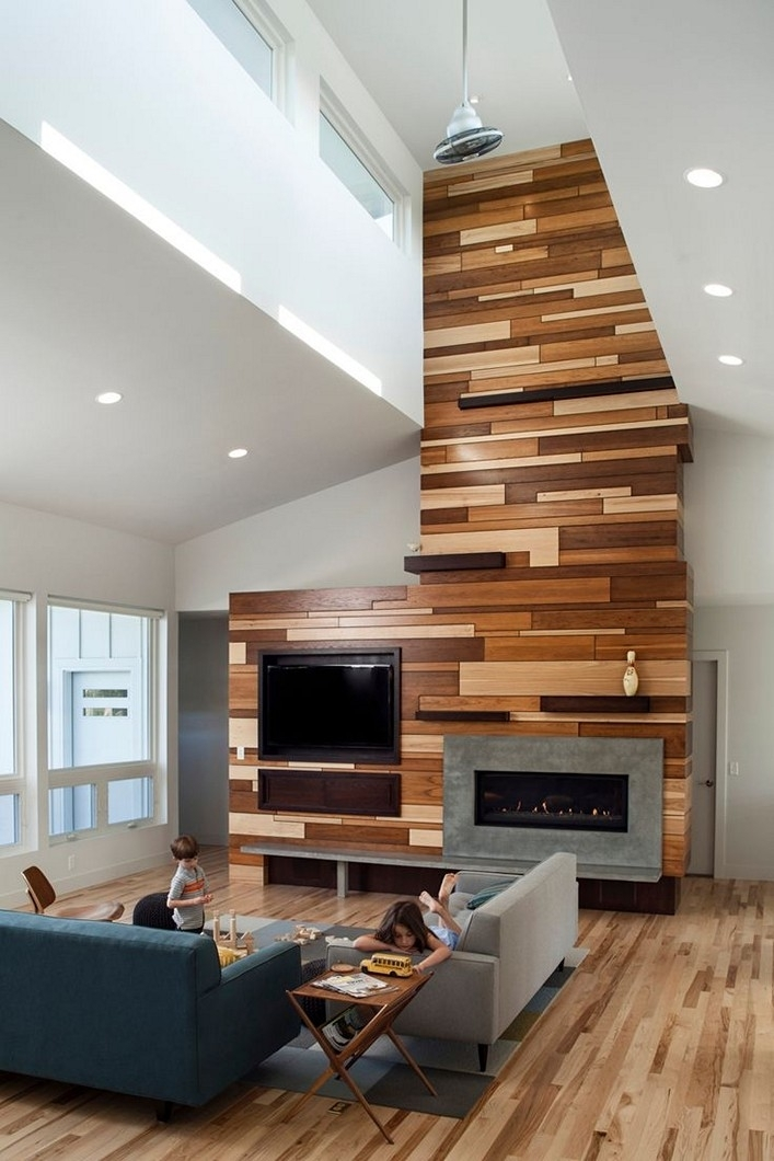 Wood Accent Wall Living Room For Wood Wall Accents (View 15 of 15)