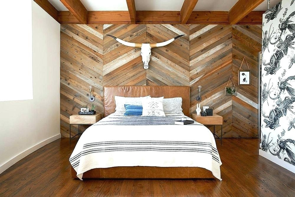 Wood Panel Accent Wall Bedroom Wood Plank Wall Decor Rustic Wood Intended For Reclaimed Wood Wall Accents (Image 15 of 15)