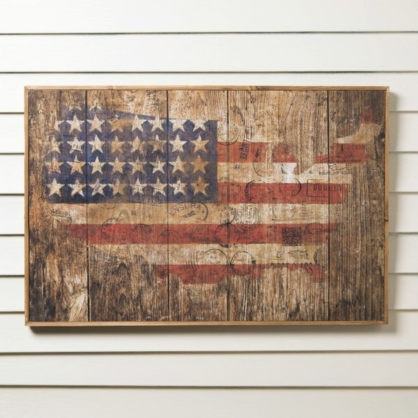 Wooden American Flag Wall Art | Wayfair For American Flag Fabric Wall Art (Image 15 of 15)