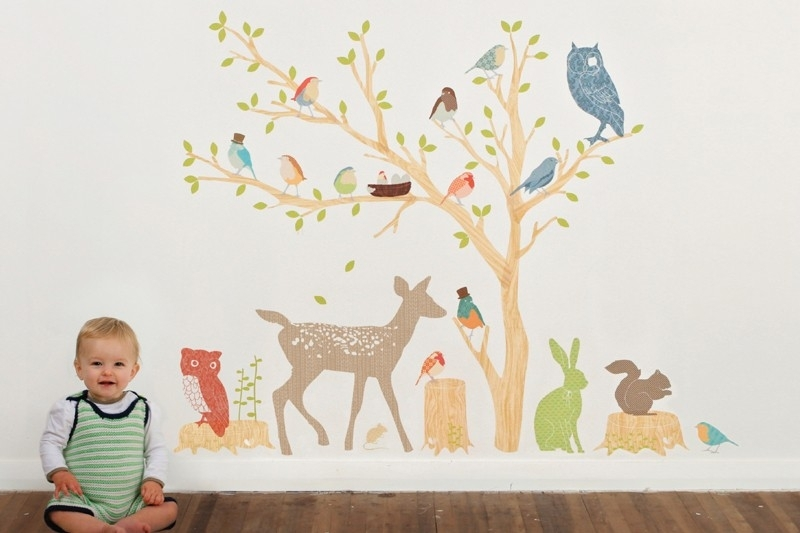 Woodland Scene Earthy Fabric Wall Decalslove Mae Intended For Fabric Wall Art For Nursery (View 9 of 15)