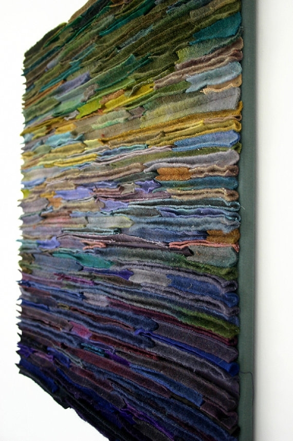 "Wool Fiber Art Wallhanging / Along The Stream Banks"" With Textured Fabric Wall Art (Image 15 of 15)"