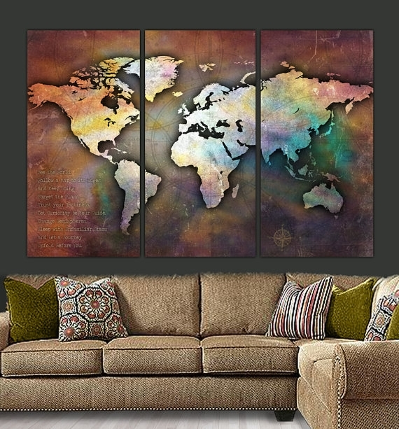 World Map Canvas Antique Map Large Wall Art Up To 6 Ft (View 8 of 15)