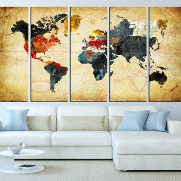 World Map Canvas Art Print, Old World Map From Artcanvasshop On In Maps Canvas Wall Art (View 11 of 15)