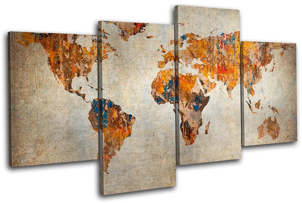 World Map Wall Art Canvas | Design Idea And Decorations : Family Intended For Maps Canvas Wall Art (Image 15 of 15)