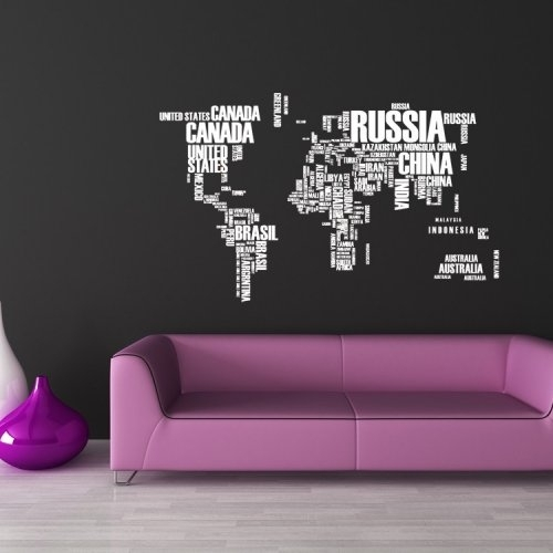 World Of Words, States, Countries, Decal, Vinyl, Sticker, Home Pertaining To Vinyl Stickers Wall Accents (View 6 of 15)