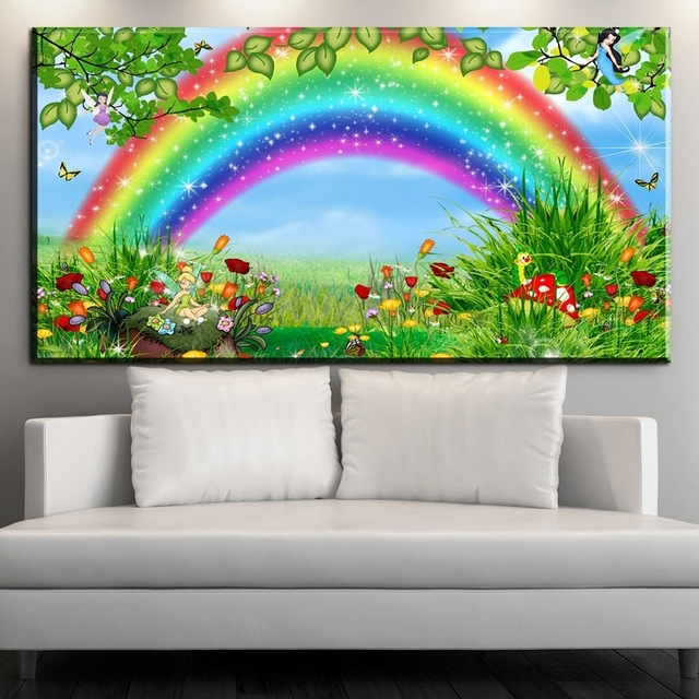 Xdr956 Cartoon Rainbow Canvas Print Hd Wall Art Painting Beauty Regarding Rainbow Canvas Wall Art (Image 15 of 15)