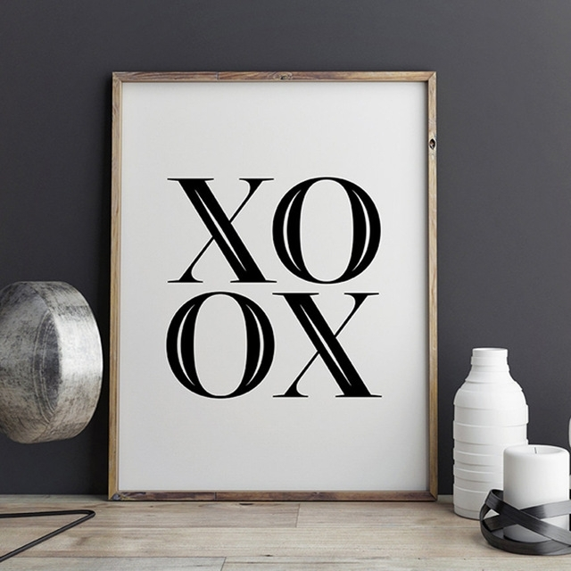 Xoxo Canvas Wall Art, Scandinavian Printable Poster, Black And For Love Canvas Wall Art (View 12 of 15)