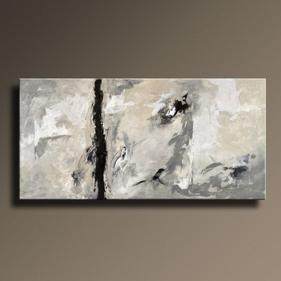 Xxl Abstract Painting Black White Gray Painting Original Canvas with Gray Abstract Wall Art