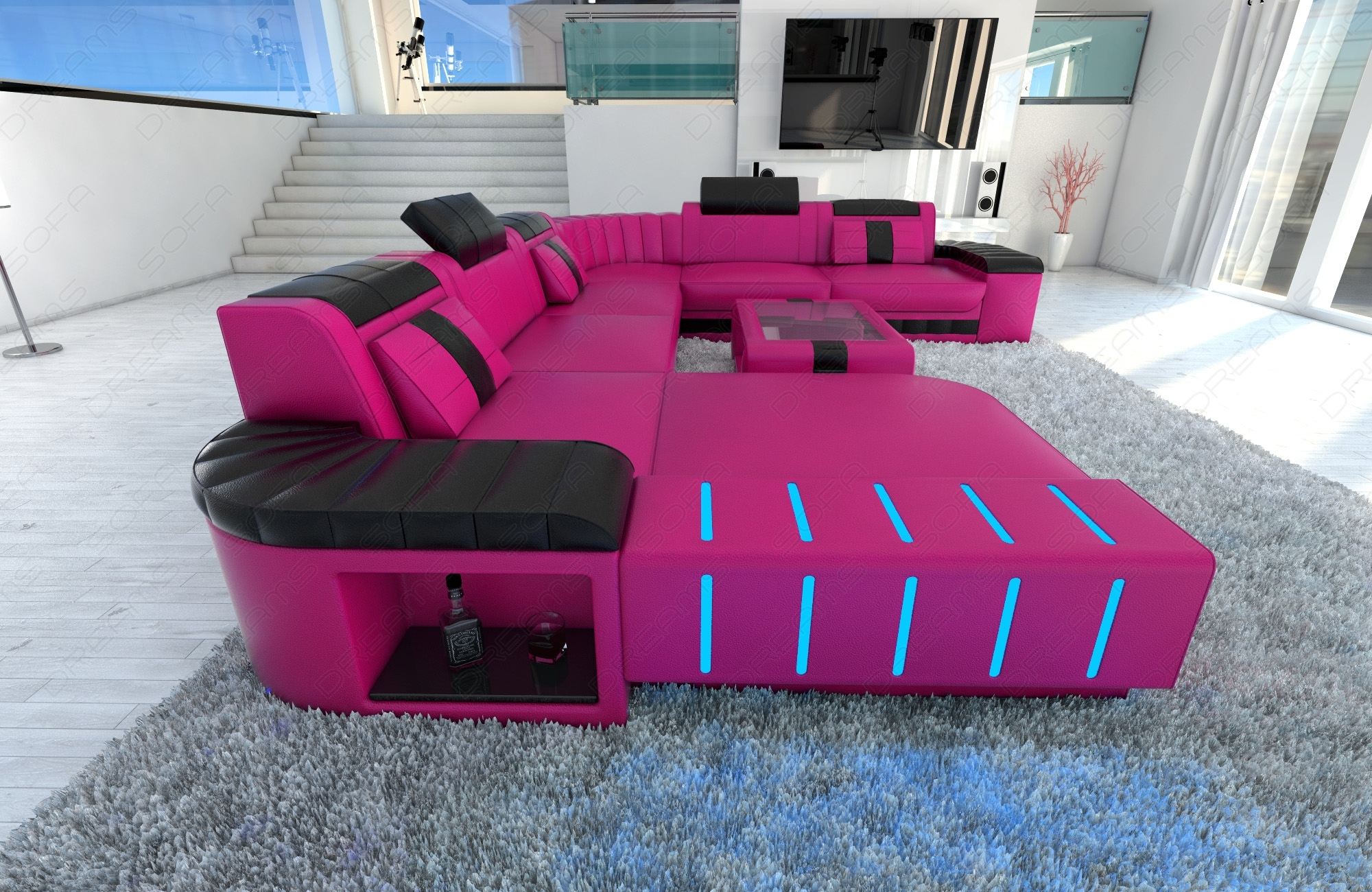 Xxl Sectional Sofa Bellagio Led U Shaped Pink Black Ebay ~ Idolza with regard to Sectional Sofas at Ebay