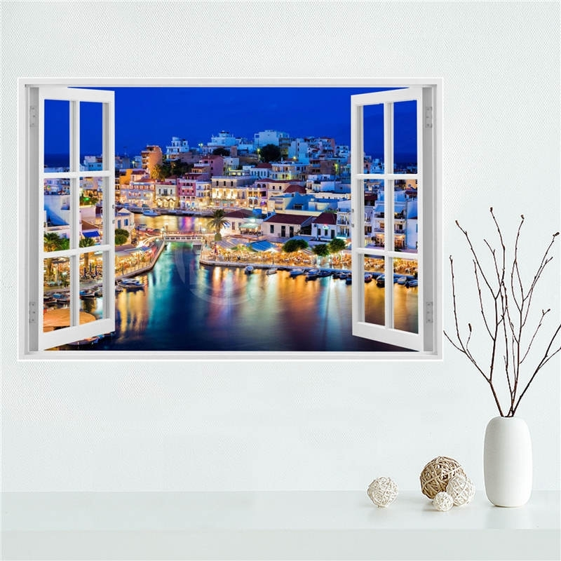 Y530L10 Custom Santorini Sea View In Greece Canvas Painting Wall With Regard To Greece Canvas Wall Art (View 7 of 15)