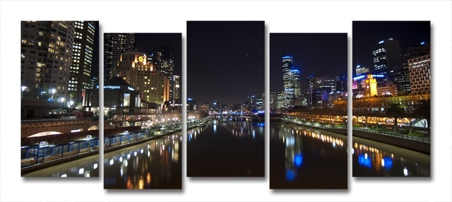 Yarra River Melbourne City At Night Modern Wall Art On Canvas In Canvas Wall Art In Melbourne (View 2 of 15)
