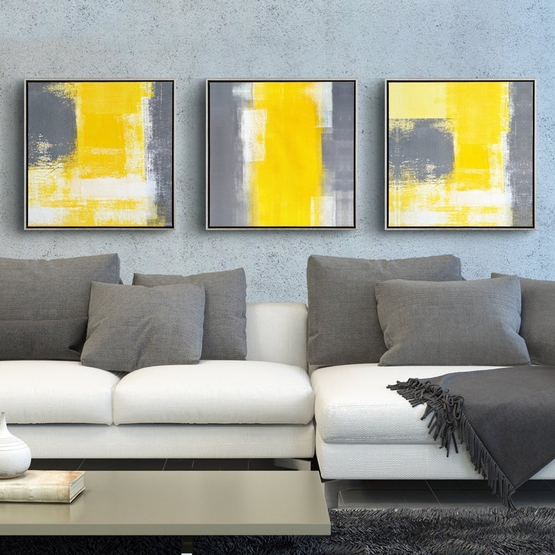 Yellow And Grey Modern Minimalist Abstract Painting Decorative Throughout Grey Abstract Canvas Wall Art (View 12 of 15)